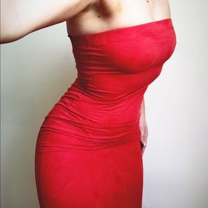 Suede red tube dress